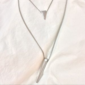 Silver double spike layered statement necklace